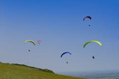 Flyga handgliding högt Fotografering för Bildbyråer