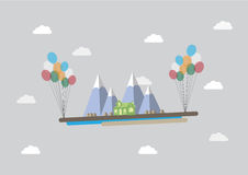 Flyga huset stock illustrationer