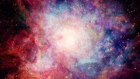 Flyga in i stjärnaklunga i yttre rymd stock illustrationer