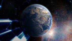Flyga i väg från jorden till och med stjärnorna materiel Magi klumpa ihop sig Soluppgång över jorden som ses från utrymme stock illustrationer