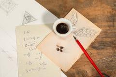Flyga med en kopp kaffe Royaltyfri Bild