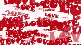 Flyga ord FÖRÄLSKELSE i rött på vit vektor illustrationer