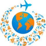 Flyga runt om världen stock illustrationer