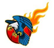 Flyga skalliga Eagle And Flaming Basketball vektor illustrationer