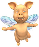 flyga som är piggy stock illustrationer