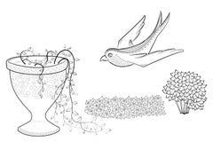 Flyga svalan Zen Tangle blommar i en vas Färgläggningbok med naturen och fågeln stock illustrationer