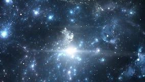 Flyga till och med nebulosa- och stjärnafält stock illustrationer