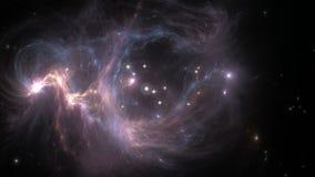 Flyga till och med nebulosa- och stjärnafält efter supernovaexplosionen vektor illustrationer