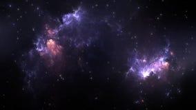 Flyga till och med nebulosa- och stjärnafält i djupt utrymme vektor illustrationer
