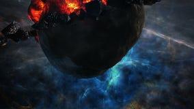 Flyga till och med stjärnafält i utrymme nära en förstörd planet royaltyfri illustrationer