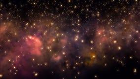 Flyga till och med stjärnafält och nebulosa i djupt utrymme vektor illustrationer