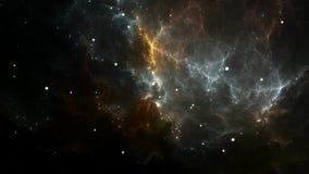 Flyga till och med utvidgande nebulosa- och stjärnafält i djupt utrymme royaltyfri illustrationer