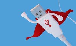 Flyga USB för toppen hjälte kontaktdonet Arkivfoto