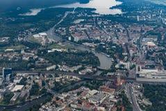 Flyga över Tyskland - flyg- sikt av Berlin-Spandau Arkivbilder