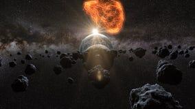 Flygasteroid, meteorit till jord abstrakt begrepp mot avstånd för stående för bakgrundskvinnlig ytterkant arly framförande 3d stock illustrationer