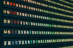 Flygavvikelse och ankomster av informationsbrädet om nivåer i flygplats fotografering för bildbyråer