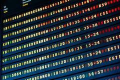 Flygavvikelse och ankomster av informationsbrädet om nivåer i flygplats arkivfoto