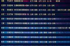Flygavvikelse och informationsbräde om ankomster i flygplatsterminal royaltyfri foto