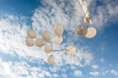 Flygbaloons på den soliga dagen royaltyfria bilder