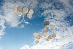 Flygbaloons på den soliga dagen royaltyfri fotografi