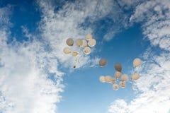 Flygbaloons på den soliga dagen royaltyfri bild