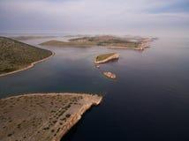 Flygbild av Adriatiska havet, Kroatien Fotografering för Bildbyråer