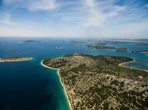 Flygbild av Adriatiska havet, Kroatien Royaltyfria Bilder