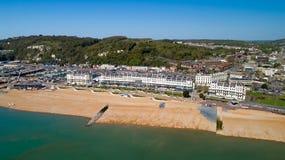 Flygbild av den Dover stranden, Kent, England arkivbild