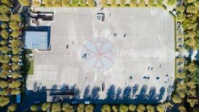 Flygbild av den Europa plazaen i Toulouse fotografering för bildbyråer