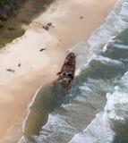 Flygbild av den Fraser Island skepphaveriet Arkivfoton