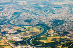 Flygbild av Rhinen Arkivfoto