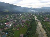 Flygbild av floden Prut Arkivbild