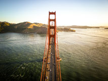 Flygbild av Golden gate bridge i San Francisco California Arkivbild