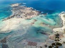 Flygbild av karibiskt som stranden med turkosvatten och rosa sand royaltyfri foto