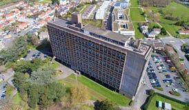 Flygbild av La Maison Radieuse i Rezé, Loire Atlantique arkivfoto