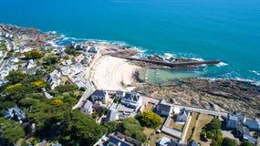 Flygbild av Saint Michelport i Batz sur Mer Royaltyfri Fotografi
