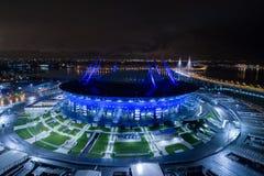 Flygbild av St Petersburg stadion som kallas också Zenit arena Arkivfoton