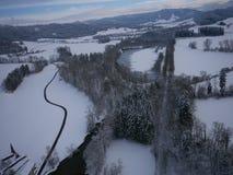 Flygbild av vinterlandskapet Arkivbilder