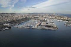 FlygbildBarcelona port Arkivbilder