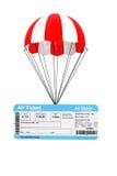 Flygbiljetten med hoppa fallskärm Arkivfoton