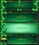 Flygblad för dag för St Patrick ` s horisontalav baner royaltyfri illustrationer