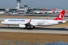 Flygbolag för TC-JSR Turkish Airlines, flygbussen A321-231 namngav KIRKLARELI Arkivbilder