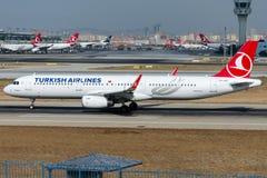 Flygbolag för TC-JST Turkish Airlines, flygbussen A321-231 namngav DIYARBAKIR Royaltyfri Foto