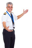 Flygbolagpilotvälkomnande Arkivbild