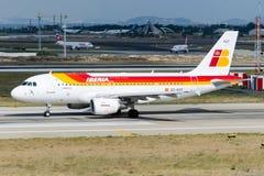 Flygbuss A319-111 för EC-KOY Iberia Royaltyfri Bild