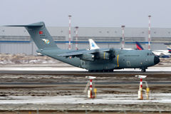 Flygbuss A400M 14-0028 av turkiskt flygvapen på Vnukovo den internationella flygplatsen Arkivfoton