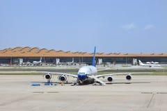 Flygbuss A380-861 på Pekinghuvudinternationell flygplats Arkivfoto