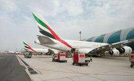 Flygbuss A380 som anslutas i den Dubai flygplatsen Arkivbilder