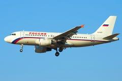 Flygbuss A319-111 (VQ-BAR) av flygbolaget Ryssland i närbild Visa profil Fotografering för Bildbyråer