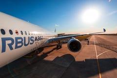 Flygbuss A350-900 XWB på MAKS Airshow 2015 Arkivbild